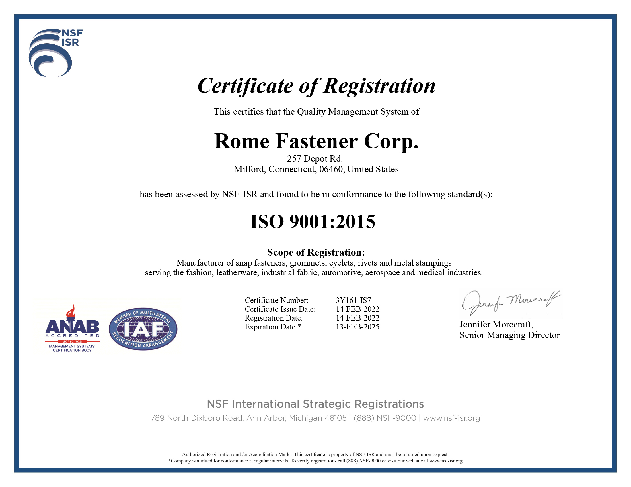 Romefast ISO 9001:2008 Certification