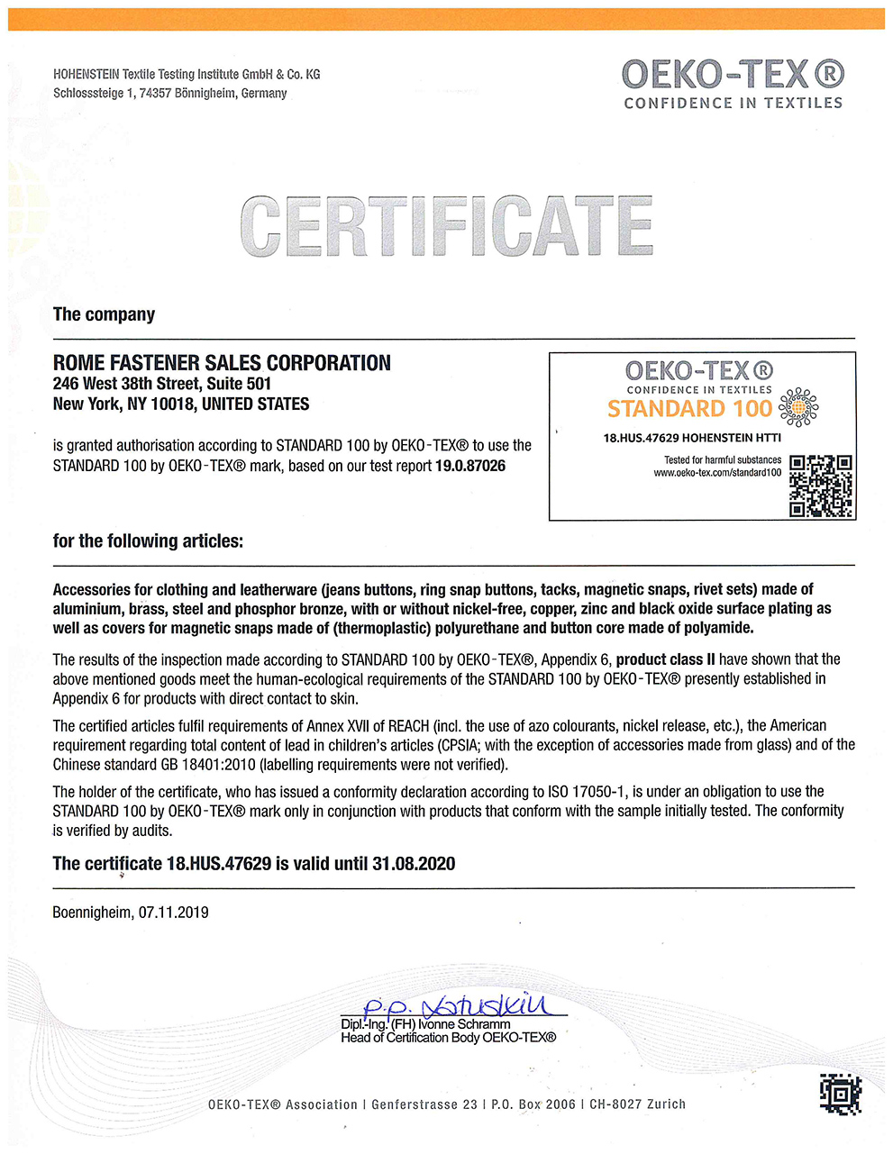 Oekotex Standard 100 Certification